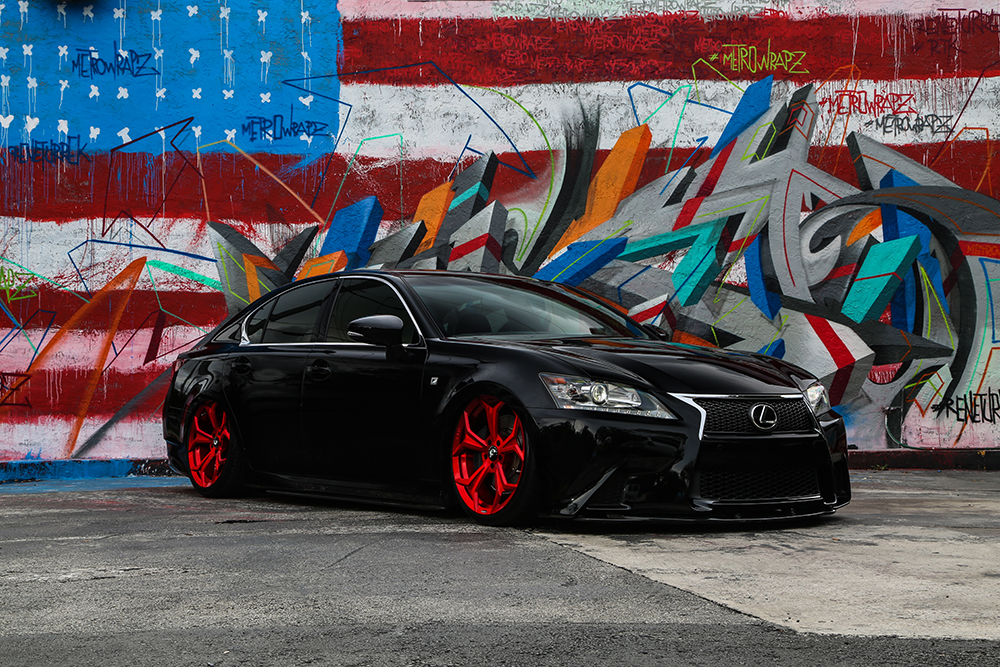 "Full Of Air – Bagged Lexus GS350 On 20"" F2.09 In Candy Red"