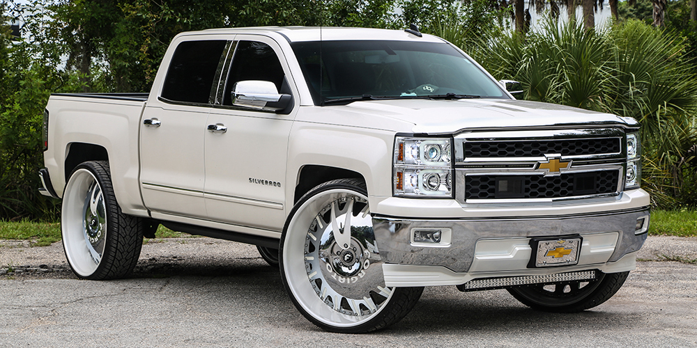 White Silverado Chrome Rims
