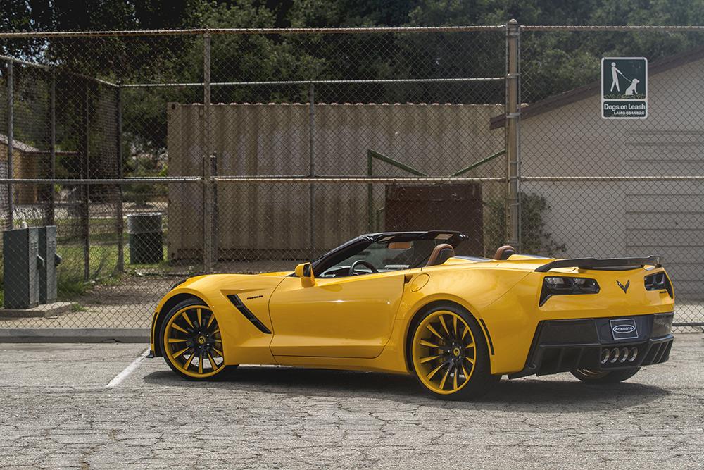 Yellow Wide Body Corvette C7 On Custom Concave Wheels 2