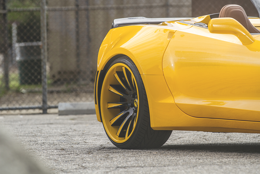 yellow wide body corvette c7 on custom concave wheels (8)