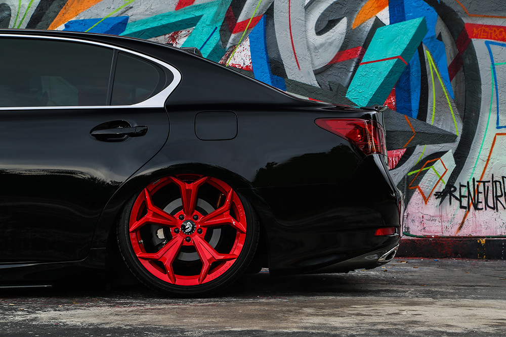 Full of air bagged lexus gs350 on 20 f209 in candy red sciox Images