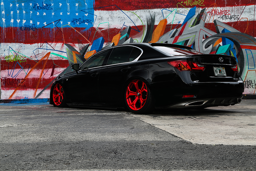 Full Of Air Bagged Lexus GS350 On 20 F209 In Candy Red