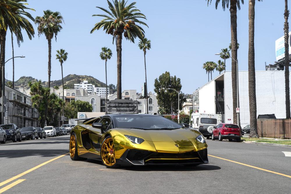 Chris Brown's Gold Lamborghini Aventador SV Roadster on Forgiato Wheels